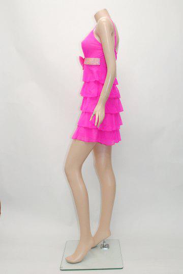 胸元リボン&チェーン5段フリルチュール ショートドレス
