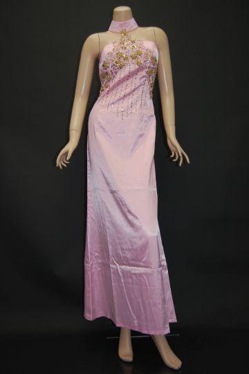 首付きビーズ&スパンコール刺繍 ロングドレス