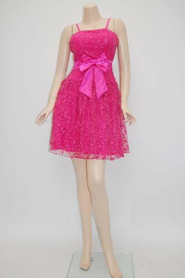 リボン付き花柄レースラブリー ショートドレス