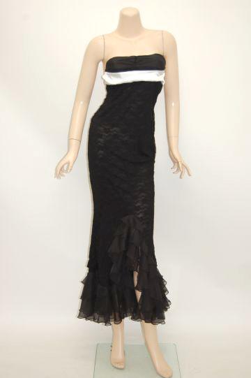 サテンバックリボン ロングドレス