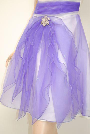 フェミニン胸元ボーダーオーガンジー ポイントラインストーン ショートドレス