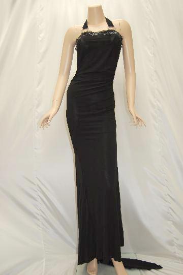 フラワーラインキュート刺繍ドレープ ロングドレス