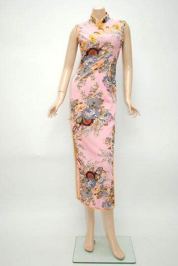 胸元セクシーカット和柄 ロング チャイナドレス