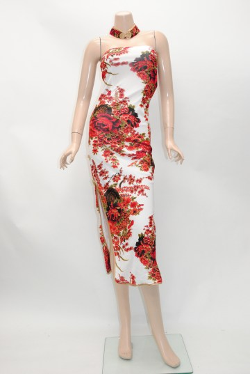 チョーカー風襟付きベアトップ ミディアム チャイナドレス
