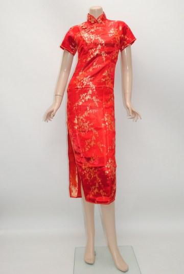 金糸梅花柄 ミディアム チャイナドレス