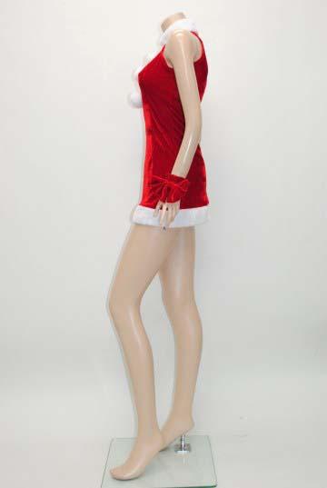 リボンシュシュ付き3連ボンボン サンタドレス