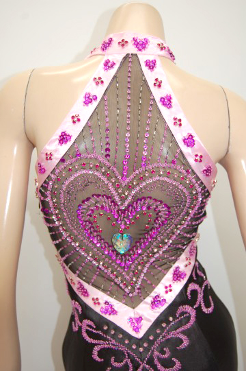 配色サテンハート刺繍後ろパワー ロングドレス