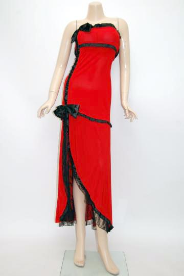 ダブルサテンリボン配色切替え ロングドレス