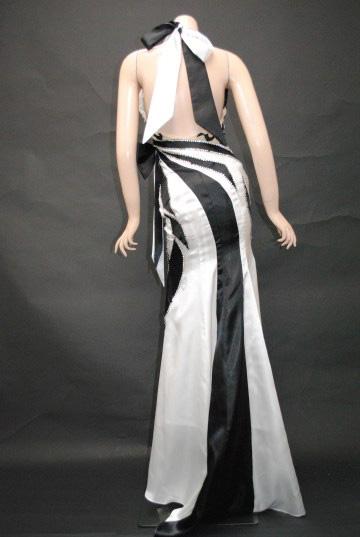 トライバル2トーンカラー ホルター ロングドレス