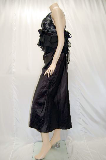 胸元刺繍&リボンフリルフリル ロングドレス