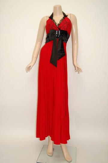 キラキラサテンリボンプリーツ ロングドレス