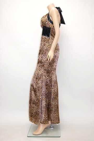 レザー風アニマル ロングドレス