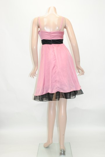 サテンリボン&裾チュール ショートドレス