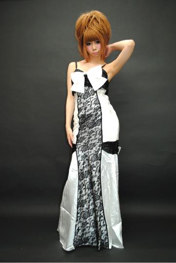 リボン付きレースライン ロングドレス