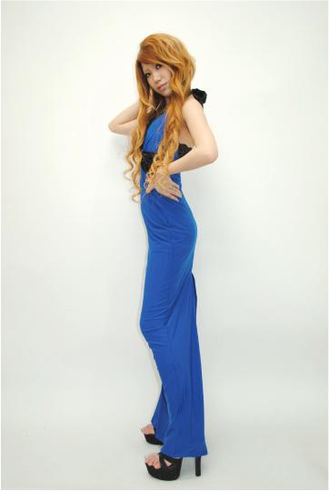 胸元レースフリル☆ミラージュプレート付き ロングドレス