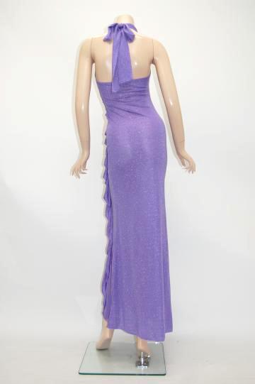銀ラメシャーリング ロングドレス