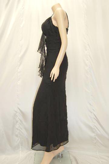 センターラインストーン&フリル ロングドレス