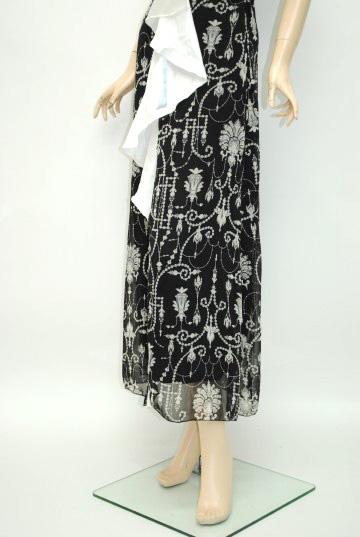 アンティーク風バックル付きシフォン ロングドレス