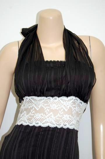 胸元ストーンシフォンストラップ ロングドレス
