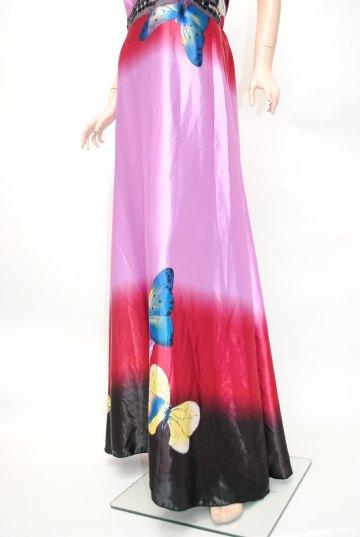 蝶柄グラデーション ロングドレス