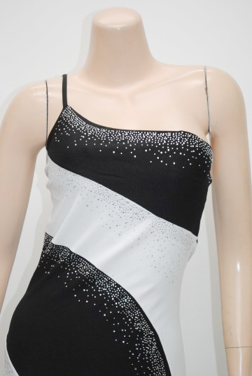 ワンショルダー ツーカラー曲線美 ロングドレス