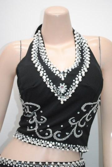 ゴージャスネックパール&スパンコール ロングドレス