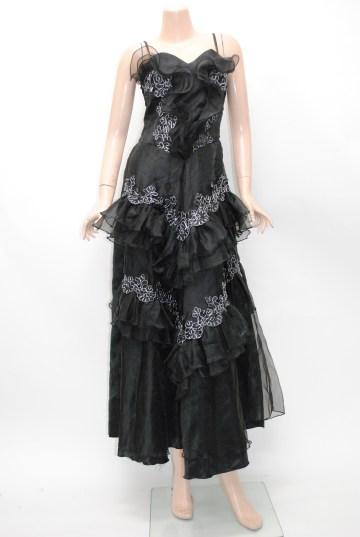 オーガンジーフリル 刺繍ライン ロングドレス