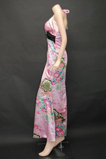 和柄サテン ホルターネック ロングドレス
