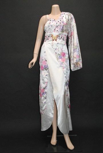 花魁風和柄サテン ロング 着物ドレス