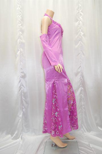 裾シースルー切り替え ロング ドレス