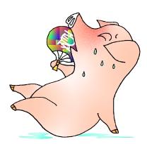 汗かいてうちわの豚の絵
