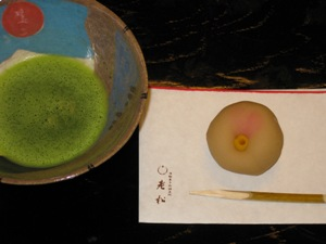 老松お菓子教室 抹茶と姫椿