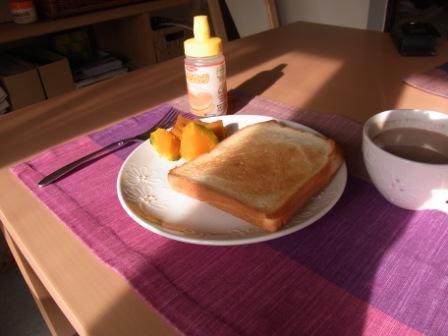 トーストとカボチャ 朝食