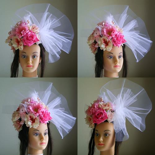 芍薬とローズとガーベラと人形の成人式髪飾り
