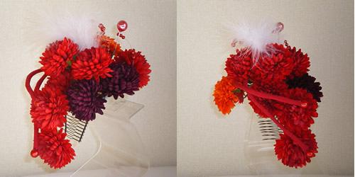 レッドマム(菊)とリボンの和装髪飾り