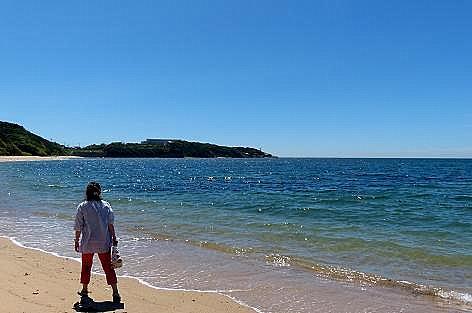 遠見ケ鼻が見える海岸♪