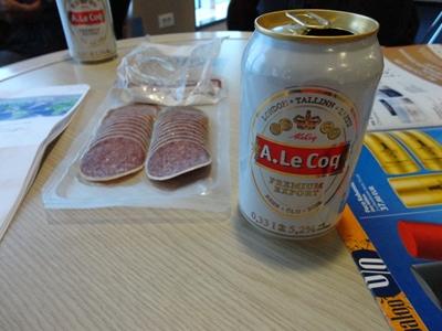 サラミとビール