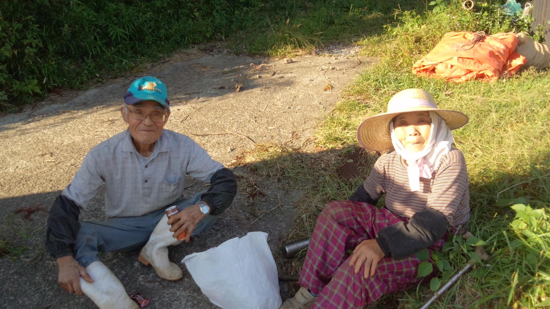 稲刈り中の高齢者