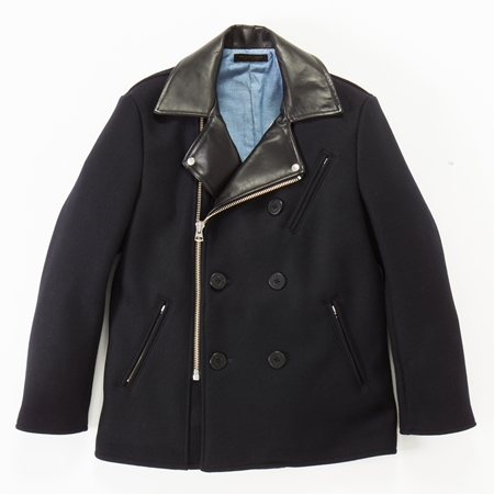 CO18 WOOL RIDERS PEA COAT BLACK_R