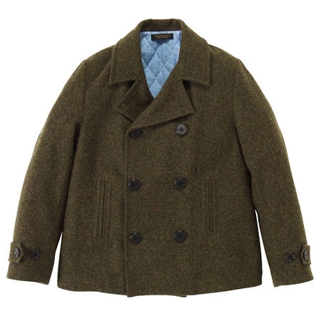 CO12 WOOL SHORT PEA COAT MOSS GREEN_R