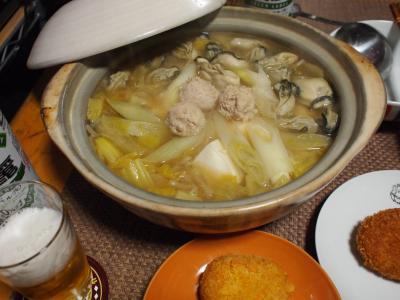 晩酌☆牡蠣&肉団子鍋