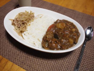 夕食☆ポークカレーライス肉もやし炒め添え