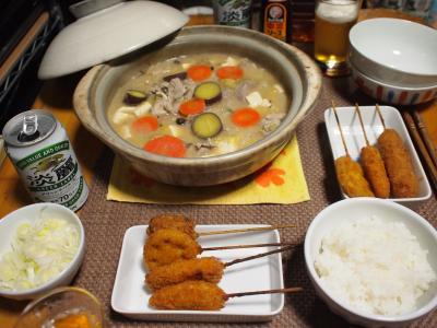 晩酌☆スペアリブ入り味噌汁鍋&お惣菜串カツ
