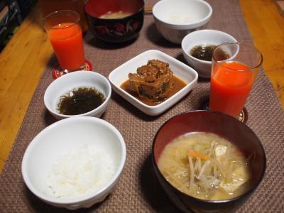 朝食☆さば缶&野菜の味噌汁