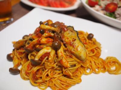 晩酌☆牡蠣トマトしめじパスタ&豚しゃぶ野菜サラダ&トマトのカルパッチョ