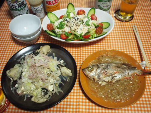 晩酌☆めばるのホイル包み蒸し&豚肉と牡蠣ともやしの蒸し煮&豆腐サラダ