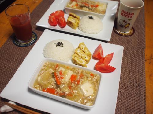 朝食☆豆腐の野菜あんかけ汁プレート