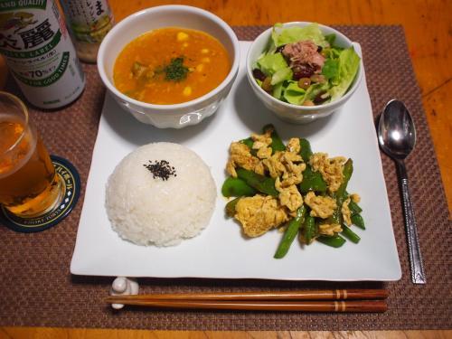 晩酌☆かぼちゃシチュー&野菜と卵のカレー炒め&ツナ豆サラダプレート