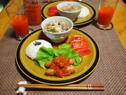 朝食☆白菜とじゃがいもの生姜スープ&ウインナーのトマトソースプレート