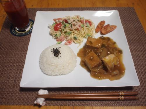 朝食☆厚揚げと白菜のあんかけ&サラダパスタプレート